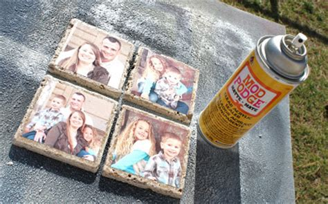 how to seal decoupage diy photo tile coasters