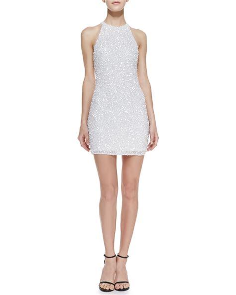 beaded white dress beaded sheath dress white xs in white lyst