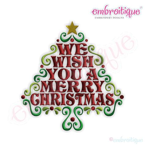 what a merry tree embroitique we wish you a merry word tree