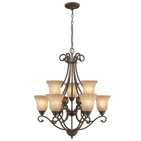 outdoor chandelier lowes shop portfolio linkhorn 9 light iron chandelier at