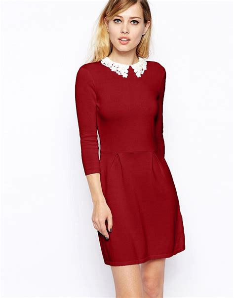knit dress with asos asos knitted skater dress with lace collar at asos