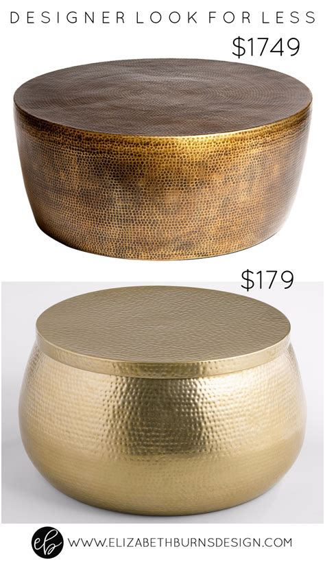 Designer Look for Less: Gold Hammered Coffee Table ? Elizabeth Burns Design, Raleigh NC Interior