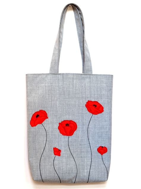 bag with made tote bag with poppies applique tote fabric bag bag