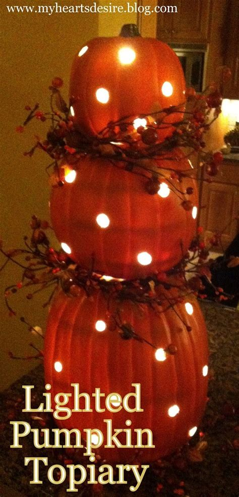 lighted pumpkin decor diy lighted pumpkin topiary pictures photos and images