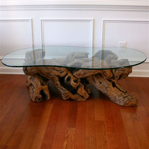 Driftwood Coffee Table with Glass Top. Cocktail. Beach. Zen.