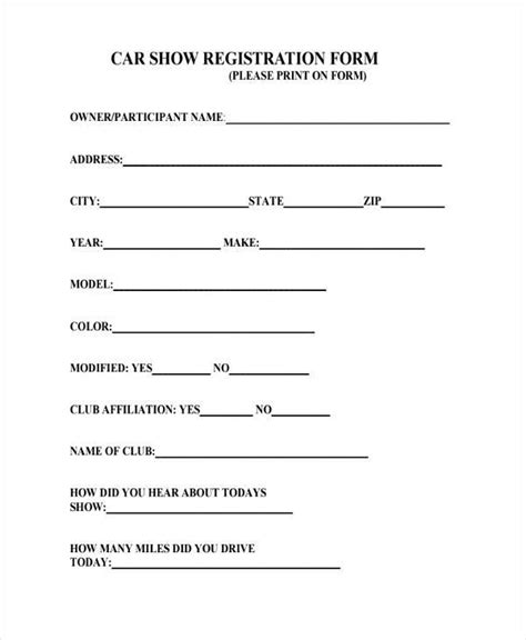 car show registration form pictures inspirational pictures