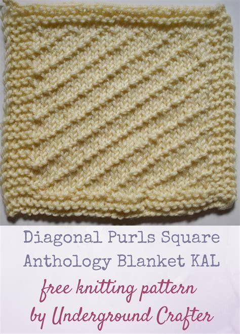 knitting diagonally diagonal purls square allfreeknitting