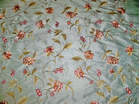how to embroider on fabric silk loom galeena embroidered floral silk fabric blue