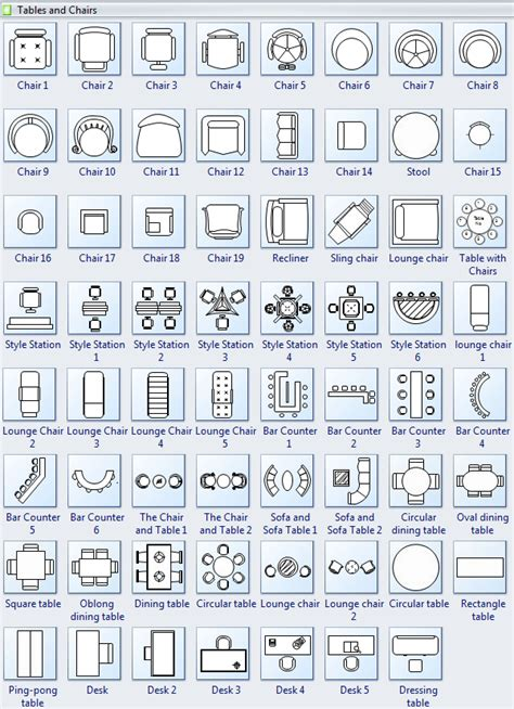 symbols for floor plan tables and chairs