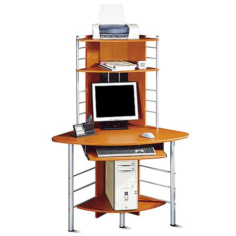 tower computer desk corner tower computer desk honey pine and silver walmart