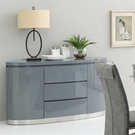 cruise modern sideboard in grey high gloss with 3 drawers