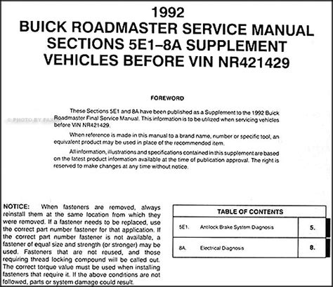 service manual downloadable manual for a 1992 buick park avenue buick park avenue 1992 le 1992 buick roadmaster abs and electrical manual supp 92 ebay