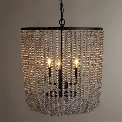 clear beaded chandelier clear bead chandelier world market