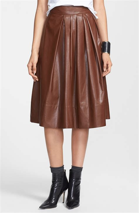 leather pleated skirt leith pleated faux leather town skirt in brown cognac lyst