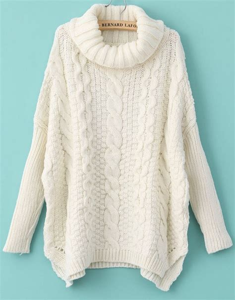 cable knit turtleneck white sleeve turtleneck chunky cable knit sweater