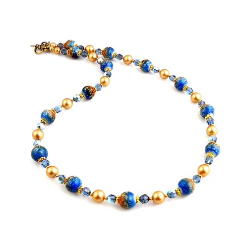 gold beaded necklace blue and gold beaded necklace beadwork necklace fashion