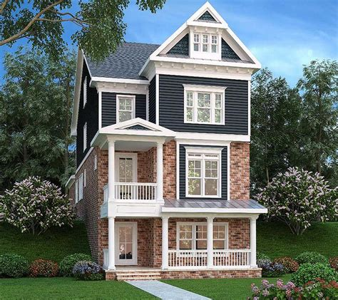 houses for narrow lots narrow lot home 3 level living 75553gb architectural designs house plans