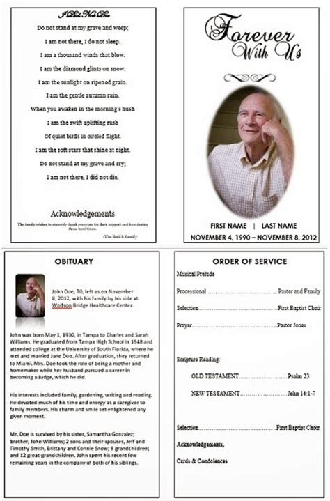 how to make a funeral memorial card the funeral memorial program january 2014