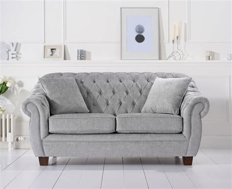 harris liv chesterfield grey plush 2 seater sofa