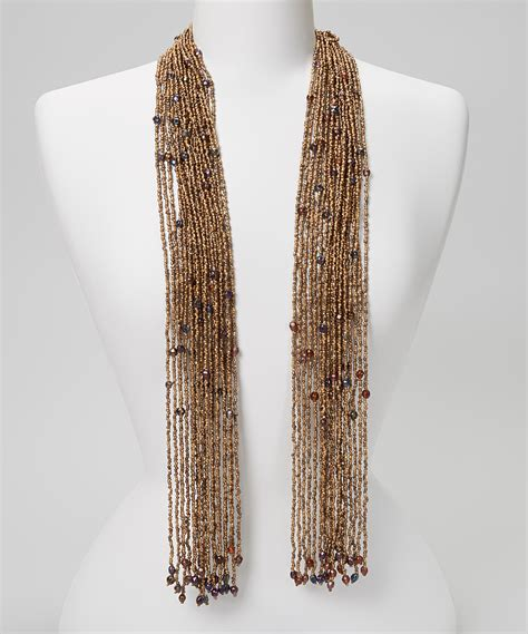 beaded scarfs brown beaded scarf necklace zulily
