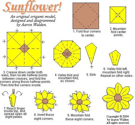 origami sunflower step by step sunflower origami diagram origami