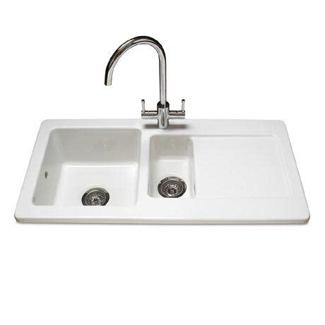 white ceramic kitchen sink 1 5 bowl reginox contemporary white ceramic 1 5 bowl kitchen sink