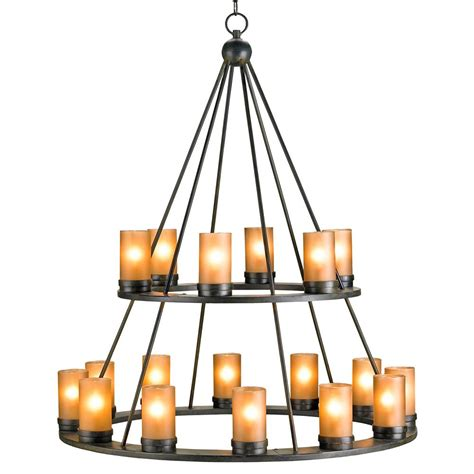 iron candle chandelier black wrought iron rustic lodge tiered 18 light candle