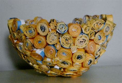 paper bowl crafts how to make a recycled rolled up glued paper magazine