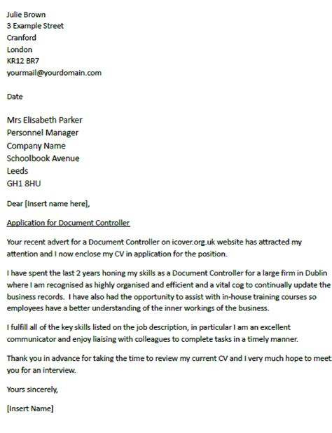 cover letter for a document controller icover org uk