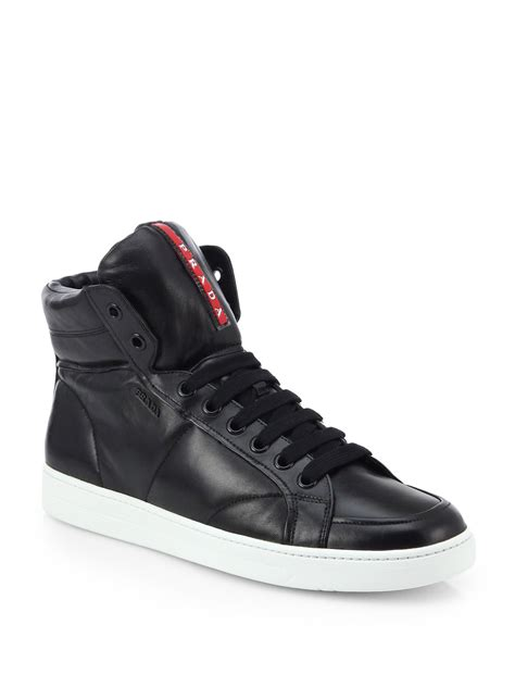 leather high top shoes for prada leather high top sneakers in black for lyst