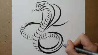 how to draw a cobra snake tribal tattoo design style