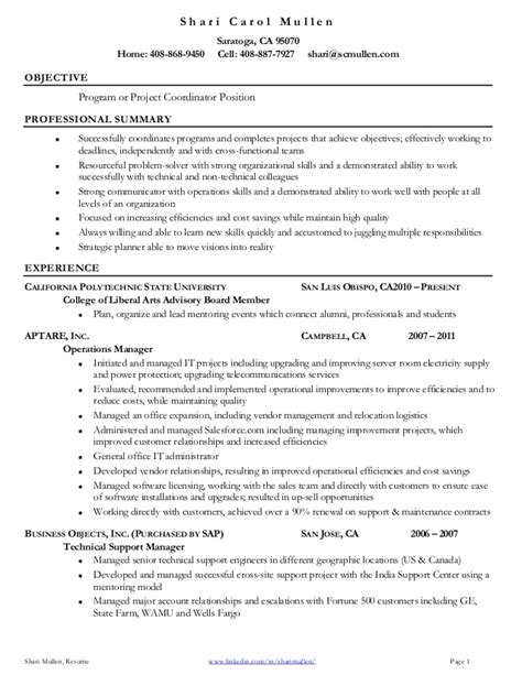 project coordinator resume