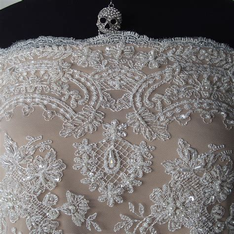 beaded lace fabric ivory beaded lace fabric pearls sequins iridescent