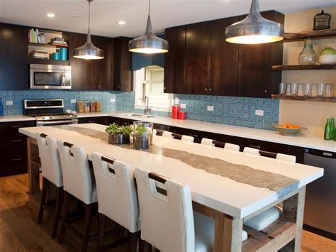 best kitchen layout with island brown and blue contemporary kitchen with large kitchen island this contemporary kitchen s large