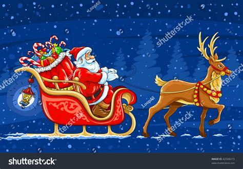 moving santa claus santa claus moving on sledge stock vector