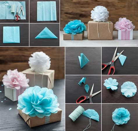 tissue paper craft ideas how to make tissue paper flowers for gift wrapping how