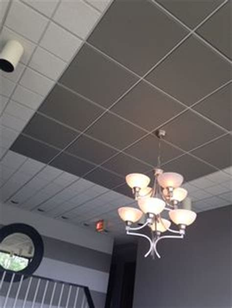 spray painting drop ceiling tiles cover drop ceiling panels with textured wallpaper and