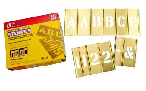 alphabet rubber st kit brass interlocking letter number stencil set 77