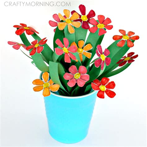 paper flower craft for children 3d paper flower bouquet craft for crafty morning