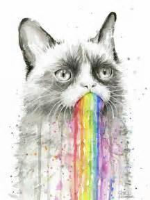 rainbow cat painting grumpy rainbow cat painting by olga shvartsur