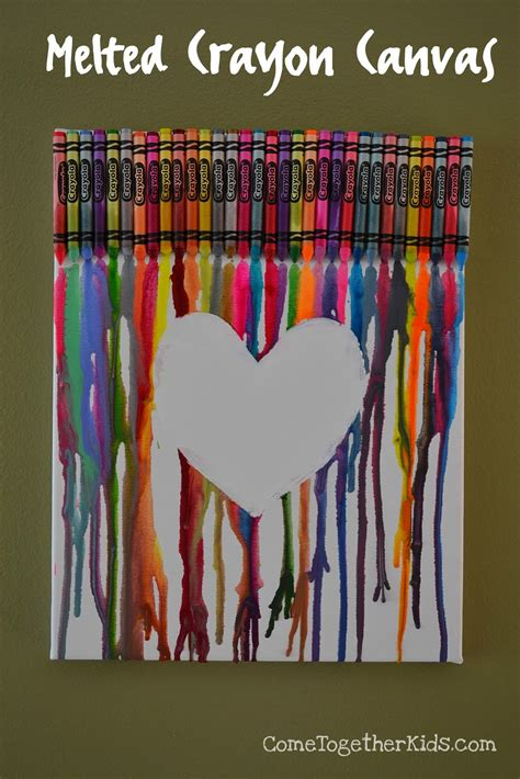 crayon crafts for come together melted crayon canvas