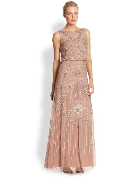 aidan mattox beaded gown aidan mattox beaded gown in pink lyst