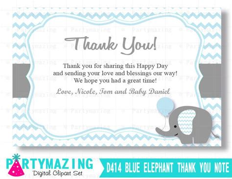 Message For Baby Shower Thank You Cards by Elephant Thank You Cards Printable Baby Blue Boy Elephant