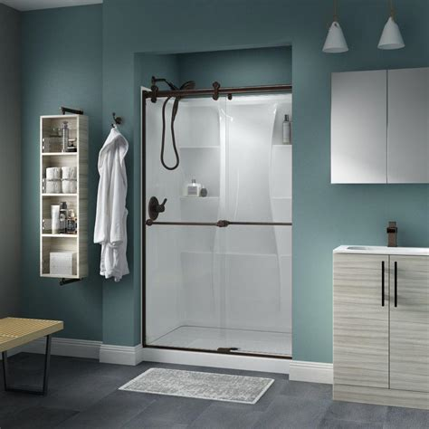 delta glass shower doors delta crestfield 48 in x 71 in semi frameless