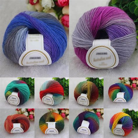 knitting with two colors carrying yarn 10 colors soft acrylic crochet cotton 50g knitting yarn