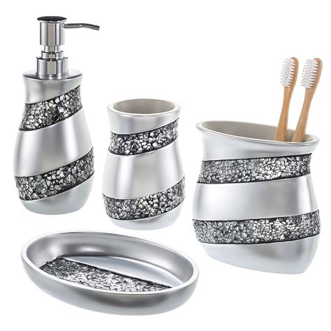bathroom accessory set creative scents 4 mosaic glass bathroom accessory