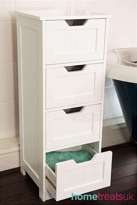 White Bathroom Cabinets Uk by White Freestanding Bathroom Cabinet 4 Drawer Storage