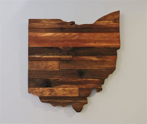 Ohio Rustic Wood State Cut Out Wood Sign Ohio Wood Sign