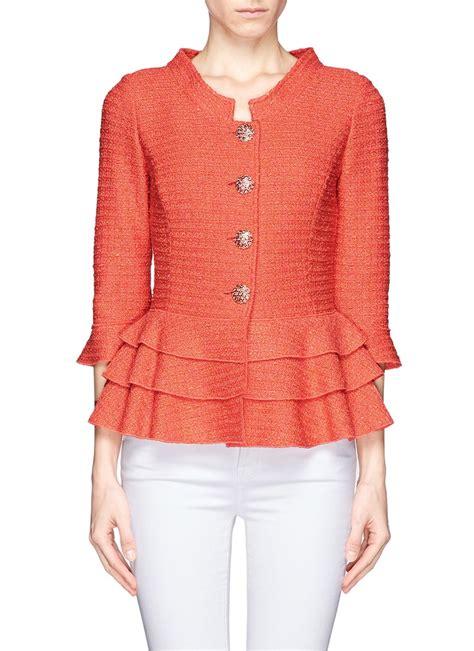 st knit jacket st tier peplum knit jacket in orange lyst