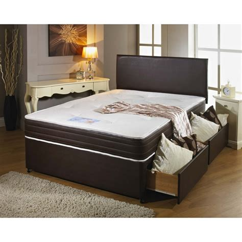 leather divan bed set with 2 drawers free headboard